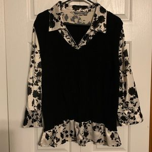 Apt. 9 top with silky floral sleeves & sweater 1X